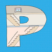 Letter P House — Stockvektor