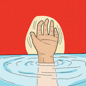 Drowning Person — Stock Vector