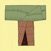 Letter T Wigwam — Stock Vector