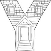 Outlined Letter Y House — Stock vektor