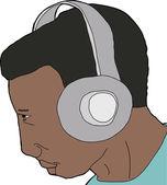 Man Wearing Headphones — Stock Vector