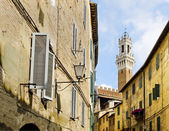 Antique street of Sinea with Mangia tower in background. Siena, Italy — Stock Photo