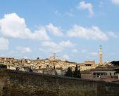 古色古香的房子和坎波塔。意大利锡耶纳 — 图库照片