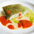 Stockfoto: Cod in green sauce, Basque cookery.
