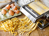 Fresh pasta fettuccini homemade. — Stock Photo