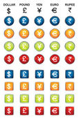 Currency icons — Stock Vector