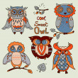 Vector Owl set — Stock Photo