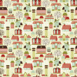 Cute seamless pattern with houses and trees, vector illustration — Vector de stock