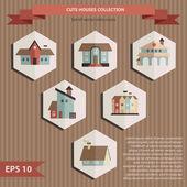 Kolekce ikon domů, dekorativní prvky vektoru — Stock vektor
