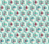 Seamless pattern with housess, vector illustration — Stock Vector