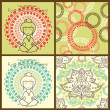 Set of cute yoga and meditation background with seamless textures — Stock Vector