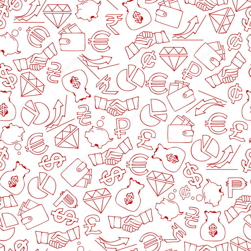 Finance Background: Seamless Background From Hand Drawn Finance Icons