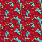 Roses seamless pattern, vector illustration — Stock Vector
