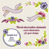 Beautiful floral compositions with ribbons — Stock Vector