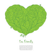 Ecology concept with heart and green leaves — Cтоковый вектор