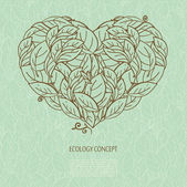 Ecology concept with heart  and leaves — Cтоковый вектор