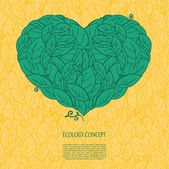 Ecology concept with heart  and leaves — Vettoriale Stock