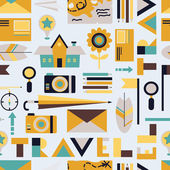 Seamless background from cute travel icons — Vector de stock