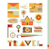 Set of cute travel icons — Vector de stock