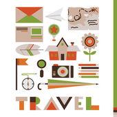 Set of cute travel icons — Vecteur