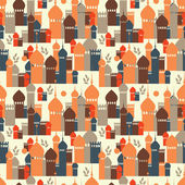Seamless pattern from orient buildings — Stock Vector