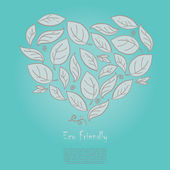 Ecology concept with heart formed of hand drawn leaves — Stockvektor