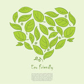 Ecology concept with heart formed of hand drawn leaves — Stock Vector