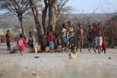 Children playing near samburu national park kenya — Stock Photo