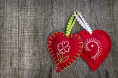 Hearts in wood background — Stock Photo