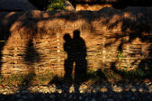 Hugging lovers shadow in late afternoon lights — ストック写真