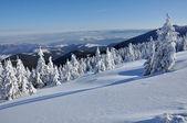 Beautiful panorama of winter mountains — Stock Photo