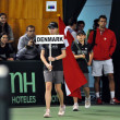 Stock Photo: Davis Cup, beginning of tennis match, Denmark enter in playground