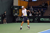 Tennis man Adrian Ungur in action at a Davis Cup match, Romania wins against Denmark with 2:0 — Stock Photo