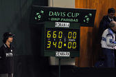 Davis cup, te final score of the match between Romania and Denmark, 2-0 — Stock Photo