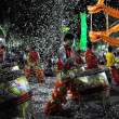 Young drummers performing live during the Vietnamese Tet Lunar New Year, Saigon, Vietnam - Stock Photo