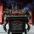 Urn in Buddhist temple filled with incense sticks. Temple of Literature, Hanoi, Vietnam — Stock Photo
