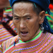 Black H'mong minority woman in the Bac Ha market, Vietnam — Stock Photo