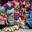 Постер, плакат: Black Hmong vendors at Bac Ha market Northern Vietnam