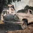 Old vintage car, grunge postcard — Stock Photo
