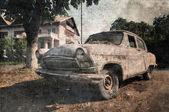 Old vintage car, grunge postcard — Stock Photo