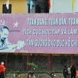 Ho Chi Minh on a banner in Vietnam — Stock Photo