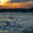 Sunset over Bosphorus, Sultanahmet in the background, Istanbul, Turkey — Стоковая фотография