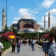 Tourists visiting Hagia Sophia mosque in Istanbul, Turkey — Stock Photo