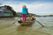 Floating marjet in Mekong Delta, Vietnam — Stock Photo