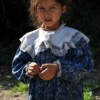 Gypsy, romani girl begging — Stock Photo
