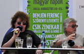 Press conference with the Hungarian composer and musician Szorenyi Levente and Demjen Ferenc — Stock Photo