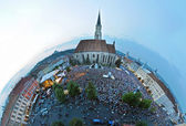 Little planet projection of a crowded square. Cluj Napoca, Romania — Stock Photo