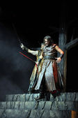 Hungarian rock opera, costume play Stephen the king live on stage — Stock Photo
