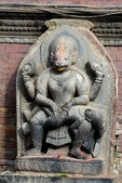 Stone relief, sculpture of Shiva the destroyer in Patan's Durbar square. Kathmandu, Nepal — Stock Photo