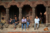 Local Nepalese people in the Durbar square, Nepal — Stock Photo